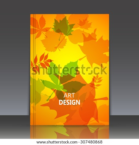 Abstract composition yellow brochure title sheet, natural background, autumn leaves, biological print, botanic ornament, eco design, leaf fall, EPS 10 vector illustration - stock vector