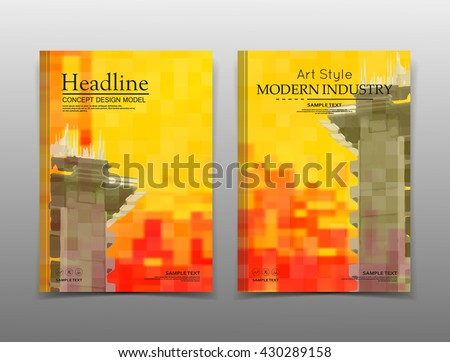 Abstract composition. Yellow, orange mosaic inlay texture. Cover construction. Urban city view banner form. A4 brochure title sheet. Creative flat block figure icon. Building surface. Flyer text font. - stock vector