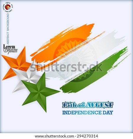 Abstract computer graphic design; Holidays layout template with orange, white and green stars and national flag colors grunge, brush texture for fifteenth of August, Indian Independence Day. - stock vector
