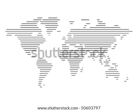 Abstract computer graphic World map of lines. Vector illustration.