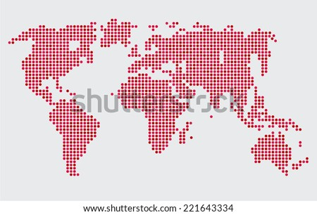 Abstract computer graphic world map round dots. - stock vector