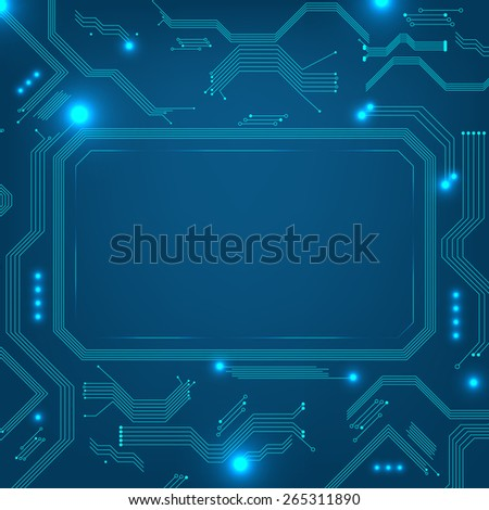 Abstract computer or technical background with frame for your text - vector illustration - stock vector
