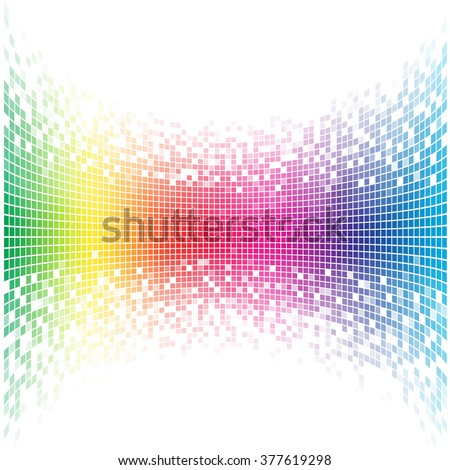 Abstract concave rainbow mosaic vector template with white copy space. - stock vector