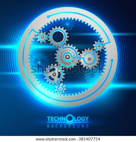 Abstract concept background with rotating gears and place for a text. Vector illustration.