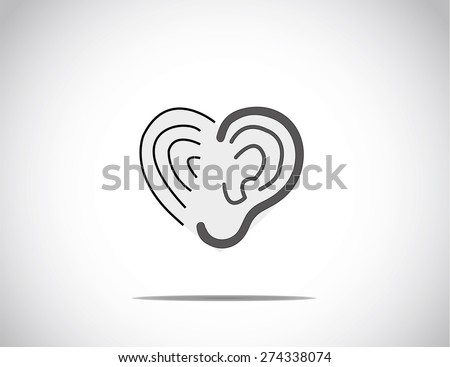 abstract concept illustration of hearing aid illustration with ear & vibration arranged in the shape of a heart or love - stock vector