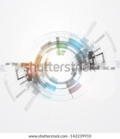 abstract concept nano round ray computer technology business background - stock vector