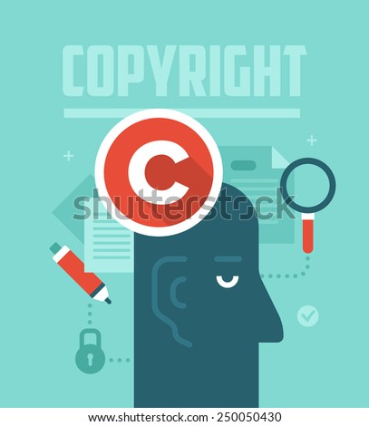 Abstract concept of copyrighting, ownership, intellectual property and author rights protection. Modern flat style design illustration. - stock vector