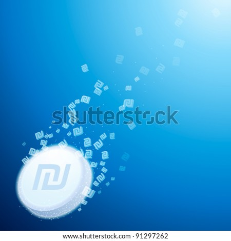 abstract concept of fizzy antidote with israeli shekel sign - stock vector