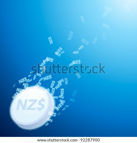 abstract concept of fizzy antidote with new zealand dollar sign - stock vector