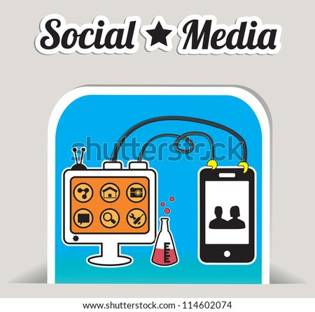 Abstract concept of social media with bookmark - vector illustration - stock vector
