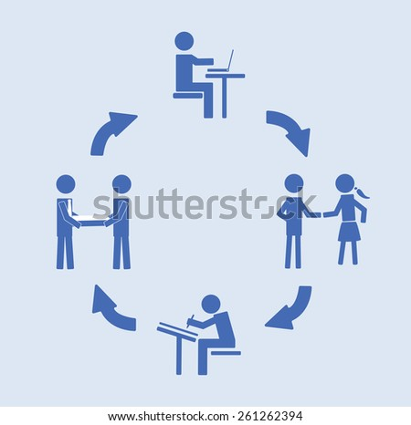 Abstract conceptual image of business Customer Relationship cycle, can use as background - stock vector