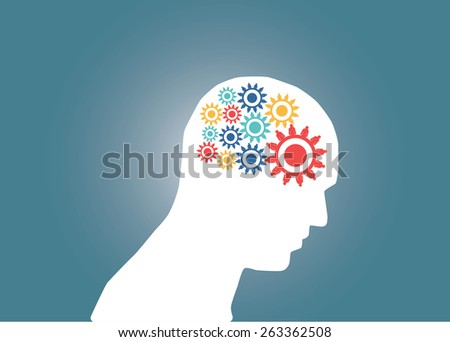 Abstract conceptual image of business human brain and gears cogwheel connection teamwork creative template with space as background - stock vector