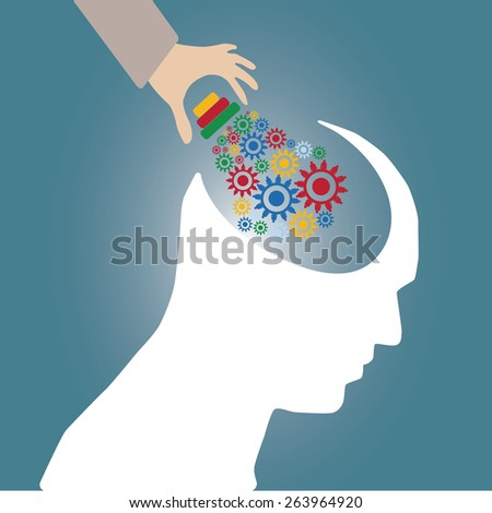 Abstract conceptual image of business human brain and gears cogwheel idea connection teamwork and hand put creative template with space as background - stock vector