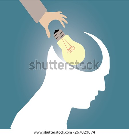 Abstract conceptual image of business human brain and hand put idea with creative template with space as background - stock vector