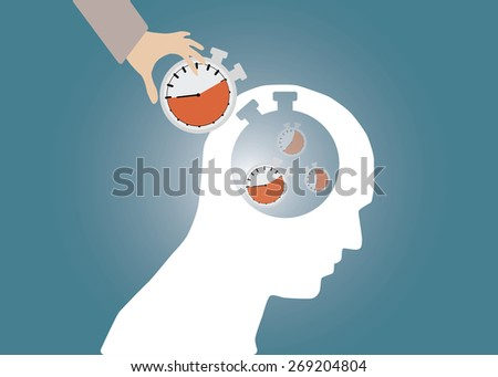 Abstract conceptual image of business human brain and hand put stopwatch clock time management for creative template with space as background in vector - stock vector