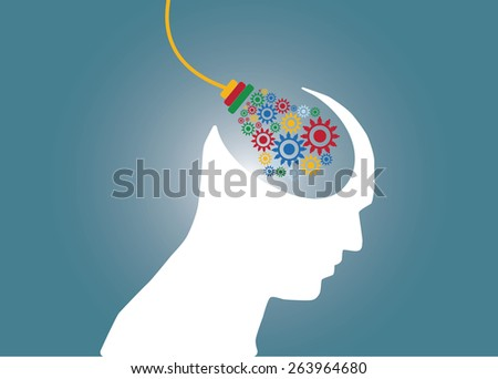 Abstract conceptual image of business human brain idea plug in and gears cogwheel connection teamwork creative template with space as background - stock vector