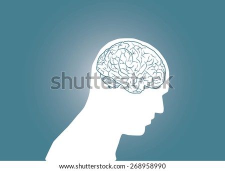 Abstract conceptual image of business human brain in body head with space as background in vector - stock vector