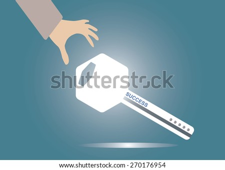 Abstract conceptual image of hand pick up the business key success icon for creative template with space as background in vector - stock vector