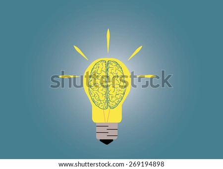 Abstract conceptual image of light bulb and human brain inside with creative template space as background in vector - stock vector