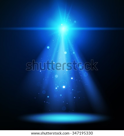 Abstract Concert Lighting with Magic Particles. Spotlight. Vector Illustration.