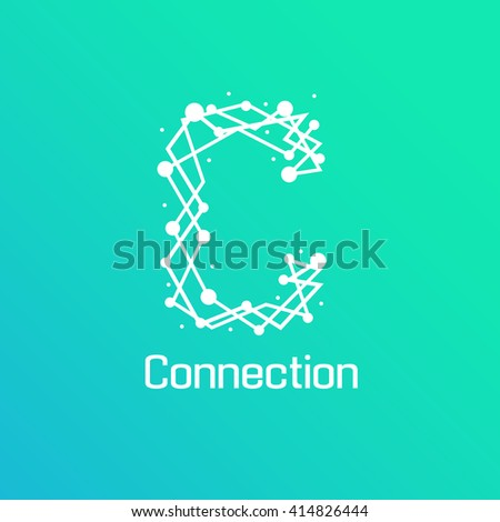 Abstract connection icon logo design made - stock vector