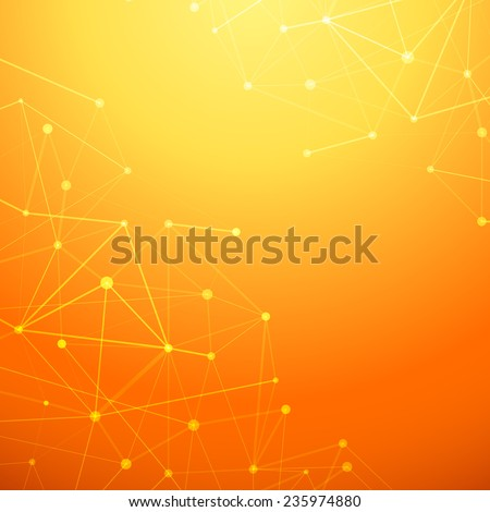 Abstract connection network orange background - atom or molecule structure net. Vector illustration - stock vector