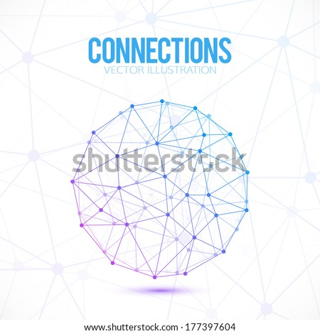 Abstract connection points and lines. Vector background. - stock vector