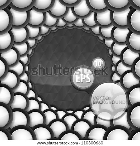 Abstract copyspace vector eps10 background made of glossy button round frame over dark metal background - stock vector
