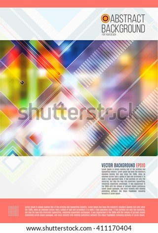 Abstract cover design, business brochure template layout, report, magazine or booklet in A4 with geometric shapes on blurred colorful background. Vector Illustration