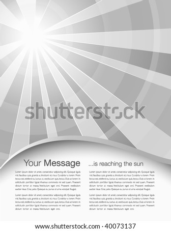 Abstract cover design with sunrays - stock vector