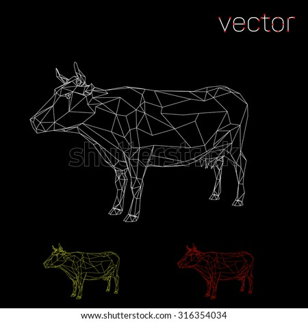 Abstract cow outline. Vector illustration. - stock vector
