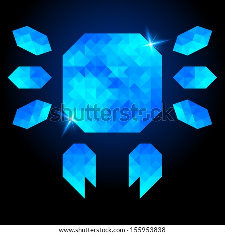 Abstract crab on dark background. Polygonal design - stock vector
