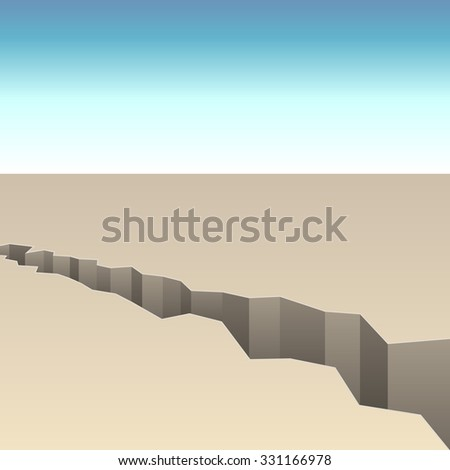 Abstract crack in the ground vector background. - stock vector