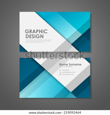 abstract creative business card template in blue  - stock vector