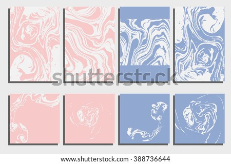 Abstract creative card templates. Weddings, menu, invitations, birthday, business cards with marble texture in trendy colors