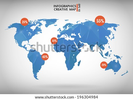 Abstract creative concept modern map of the world - stock vector