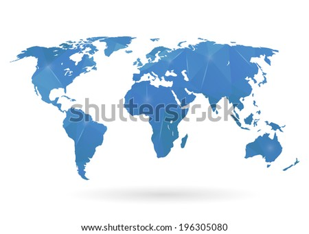 Abstract creative concept modern map of the world for Web and Mobile Applications, vector illustration, creative template design, Business software and social media icon. Isolated on white background. - stock vector