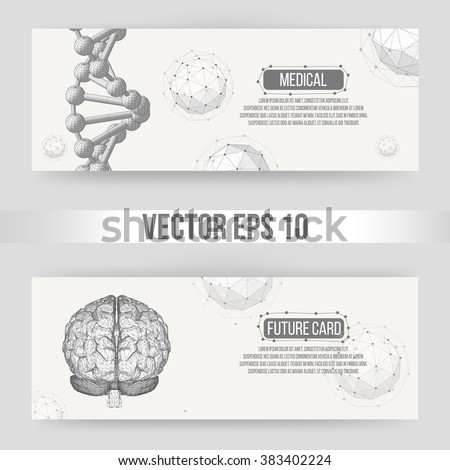 Abstract Creative concept vector background of the human brain. Polygonal design style letterhead and brochure for business. Vector Illustration eps 10 for your design. - stock vector