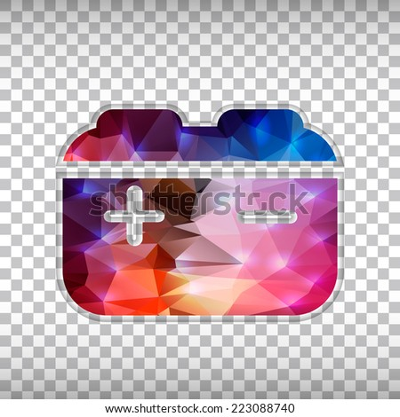 Abstract Creative concept vector icon of battery for Web and Mobile Applications isolated on background. Vector illustration template design, Business infographic and social media, origami icons.  - stock vector
