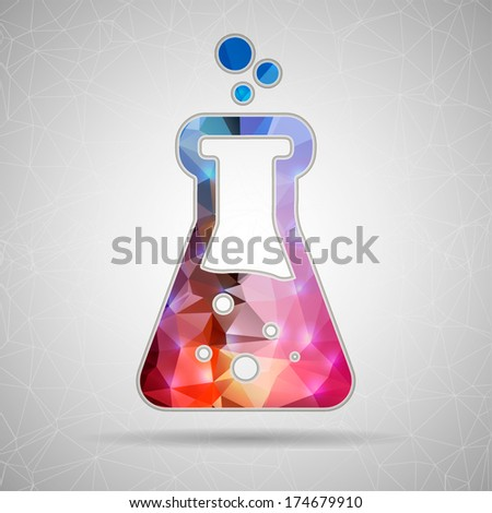 Abstract Creative concept vector icon of beaker for Web and Mobile Applications isolated on background. Vector illustration template design, Business infographic and social media, origami icons. - stock vector