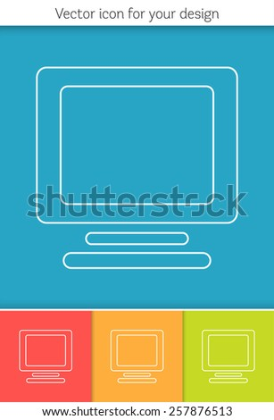 Abstract Creative concept vector icon of computer for Web and Mobile Applications isolated on background. Vector illustration template design, Business infographic and social media, origami icons.