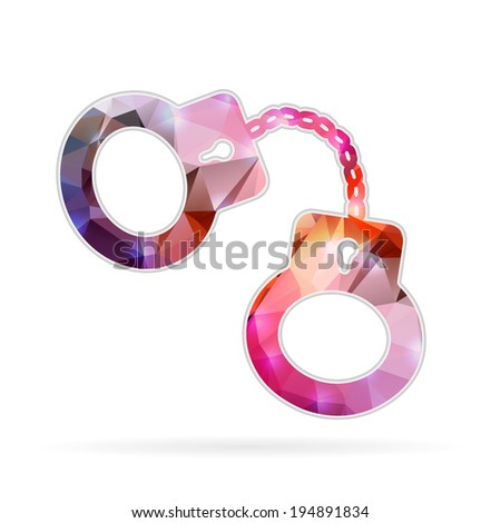 Abstract Creative concept vector icon of handcuffs for Web and Mobile Applications isolated on background. Vector illustration template design, Business infographic and social media, origami icons. - stock vector