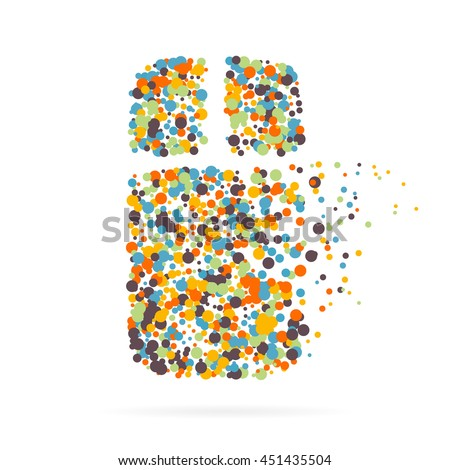 Abstract creative concept vector icon of mouse for web and mobile app isolated on background. For art illustration template design, business infographic, social media, digital flat silhoette.