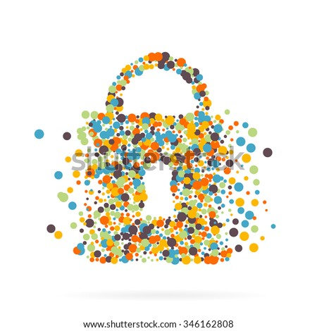 Abstract creative concept vector icon of padlock for Web and Mobile Applications. Art illustration creative template design, Business software and social media infographic. - stock vector