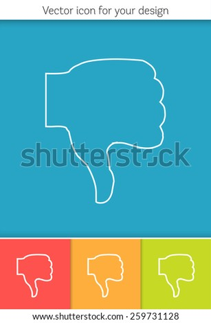 Abstract Creative concept vector icon of thumbs down for Web and Mobile Applications isolated on background. Art illustration template design, Business infographic and social media, origami icons. - stock vector
