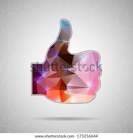 Abstract Creative concept vector icon of thumbs up for Web and Mobile Applications isolated on background. Vector illustration template design, Business infographic and social media, origami icons. - stock vector