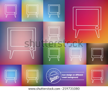 Abstract Creative concept vector icon of TV screen for Web and Mobile Applications isolated on background. Art illustration template design, Business infographic and social media, origami icons. - stock vector