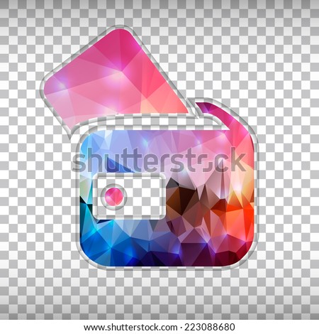 Abstract Creative concept vector icon of wallet for Web and Mobile Applications isolated on background. Vector illustration template design, Business infographic and social media, origami icons. - stock vector