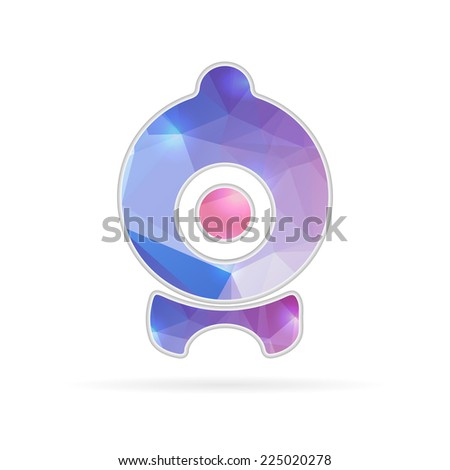 Abstract creative concept vector icon of webcam. For web and mobile content isolated on background, unusual template design, flat silhouette object and social media image, triangle art origami. - stock vector