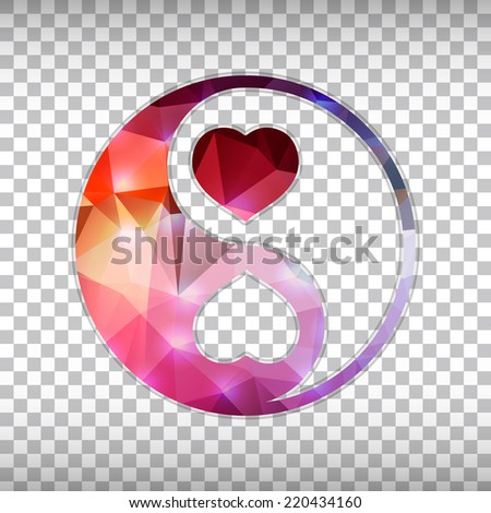 Abstract Creative concept vector icon of Yin Yang for Web and Mobile Applications isolated on background. Vector illustration template design, Business infographic and social media, origami art. - stock vector